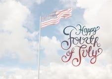 Sammansatt bild av 4th juli mot amerikanska flaggan Royaltyfri Fotografi