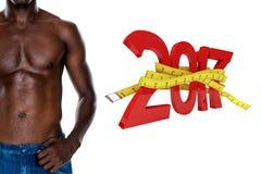 sammansatt bild 3D av det mitt- avsnittet för närbild av en shirtless muskulös man Arkivfoto