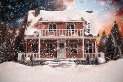 sammansatt bild 3D av det snö täckte huset Fotografering för Bildbyråer