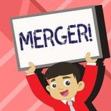 Sammanslagning för ordhandstiltext Affärsidé för kombination av två saker eller barn för sammanslagning för företagsfusionförenin stock illustrationer