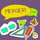 Sammanslagning för ordhandstiltext Affärsidé för kombination av två saker eller sammanslagning två för företagsfusionförening vektor illustrationer