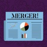 Sammanslagning för textteckenvisning Begreppsmässig fotokombination av två saker eller färgrika sammanslagning för företagsfusion stock illustrationer