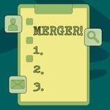 Sammanslagning för textteckenvisning Begreppsmässig fotokombination av två saker eller skrivplatta för sammanslagning för företag vektor illustrationer