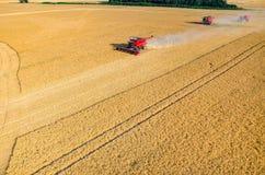 Sammanslutningar och traktorer som arbetar på vetefältet Arkivbilder