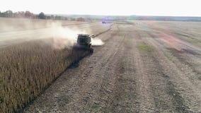 Sammanslutningsidaslinga av damm i dess bana under av skörden, härligt jordbruks- landskap med maskineri på fält lager videofilmer