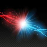 Sammanstötning av två styrkor med röda och blåa ljus Explosionbegrepp Isolerat på svart genomskinlig bakgrund också vektor för co vektor illustrationer