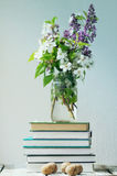 Sammansättning med böcker och vårblommor Arkivbilder