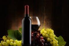 Sammansättning med exponeringsglas, flaskan av rött vin och nya druvor Arkivfoto