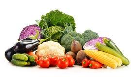 Sammansättning med variation av nya rå organiska grönsaker Royaltyfri Bild