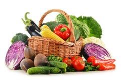 Sammansättning med variation av nya rå organiska grönsaker Royaltyfri Fotografi