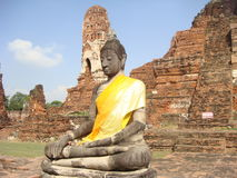 Sammanträde buddha i Ayutthaya Arkivfoto