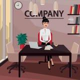 Sammanträde för affärskvinna i hennes privata kontor stock illustrationer