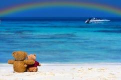 Sammanträde för färg för brunt för BJÖRN för NALLE två på den härliga stranden med r Royaltyfria Bilder