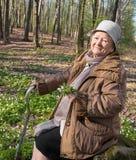 Sammanträde för gammal kvinna på en stubbe Arkivbild