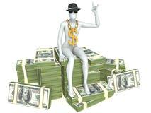 sammanträde för man 3d på en hög av pengar Arkivfoton