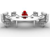 sammanträde för manen 3D på en runda bordlägger och ha affärsmöte Royaltyfri Fotografi