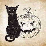 Sammanträde för svart katt med halloween pumpa över gammal illustration för vektor för grungepappersbakgrund Djur för bekant ande stock illustrationer
