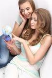 Sammanträde för två flickor Arkivfoton