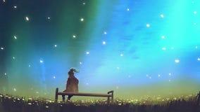Sammanträde för ung kvinna på en bänk mot himlen Arkivbild