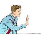 Sammanträdeman som stoppar någon Man som stoppar någon Man som kasserar något Förbjuda mannen stiligt barn för affärsman arkivbild