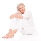 Sammanträdepensionärkvinna Fotografering för Bildbyråer