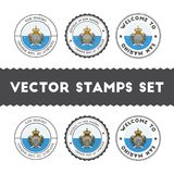 Sammarinese flag rubber stamps set. National flags grunge stamps. Country round badges collection Royalty Free Stock Photos