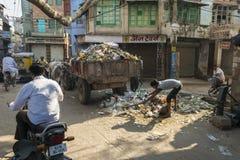 Sammeln des Abfalls in Jodhpur, Indien Stockfotografie