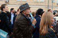 Sammeln Sie zur Unterstützung der Politik Alexei Navalny auf Bolotnaya-Quadrat in Moskau Lizenzfreies Stockfoto