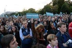 Sammeln Sie zur Unterstützung der Politik Alexei Navalny auf Bolotnaya-Quadrat in Moskau Lizenzfreie Stockfotografie