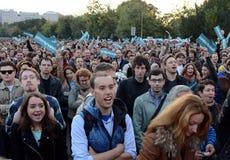Sammeln Sie zur Unterstützung der Politik Alexei Navalny auf Bolotnaya-Quadrat in Moskau Stockfoto