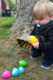 Sammeln von Ostereiern Stockbilder