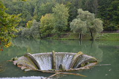 Sammeltrichter am See Vida nahe Luncasprie-Dorf stockbild