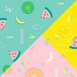 Sammer banner, poster. Punchy pastel. Trendy texture. Beautiful summer background with tropical fruits vector. Sammer banner, poster. Punchy pastel. Trendy Royalty Free Stock Photos