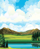Sammer landscape with meadow, forest, mountais and lake. Vector summer landscape with green flowering field, forest, mountains and lake on a blue cloudy sky Royalty Free Stock Photo