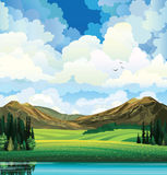 Sammer landscape with meadow, forest, mountais and lake. Vector summer landscape with green flowering field, forest, mountains and lake on a blue cloudy sky Royalty Free Stock Photography