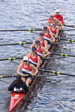 Sammish Rowing Association races in the Head of Charles Regatta Women's Youth Eights. BOSTON - OCTOBER 18, 2015: Sammish Rowing Association races in the Head of Royalty Free Stock Image