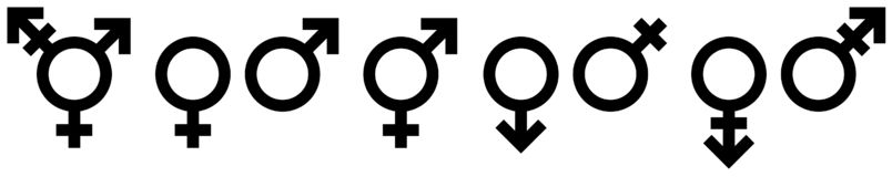 Sammlung acht des unterschiedlichen Geschlechts-Ikonen-Schwarzen vektor abbildung