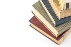 Sammlung alte Bücher auf Weiß Stockfoto