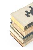 Sammlung alte Bücher auf Weiß Stockfotos