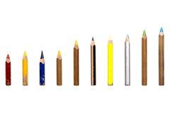 Sammlung alte benutzte kurze multi farbige Zeichenstifte Stockfotografie