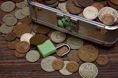 Sammlung alte sowjetische Münzen, moneybox Stockbild