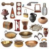 Sammlung alte verwitterte lokalisierte Gegenstände Lizenzfreie Stockfotografie