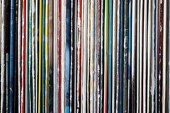 Sammlung alte Vinylaufzeichnungen Stockbild