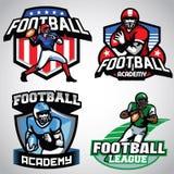 Sammlung amerikanischer Fußball-Ausweisdesigne Lizenzfreie Stockfotografie
