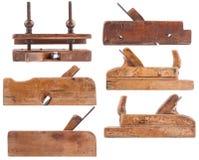 Sammlung antike Holzbearbeitungshilfsmittel Stockbild