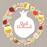 Sammlung Aufkleber und Elemente für Rosh Hashanah (jüdisches neues Stockbilder