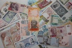 Sammlung Banknoten von verschiedenen Ländern Lizenzfreies Stockfoto