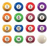 Sammlung Billardpoolbälle mit Zahlen Vektor Stockfotografie