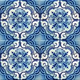 Sammlung blaue Musterfliesen Stockbild