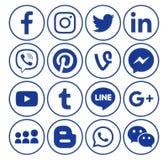 Sammlung blaue Social Media-Ikonen des populären Kreises lizenzfreie abbildung